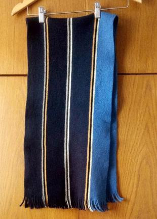 Шарф теплый и мягкий синий в полосу