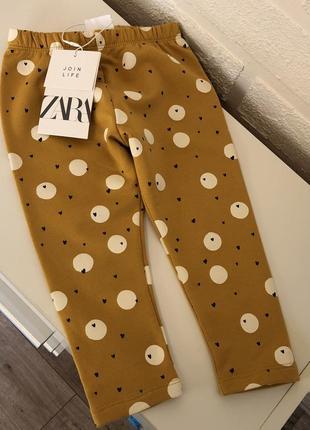 Zara флисовые лосины на девочку 12-18м