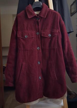 Новая женская вельветовая куртка bershka на меху пальто бордовое шуба тренч