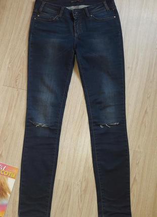 Трендовые джинсы madoc с рваными коленями скинни зауженные синие