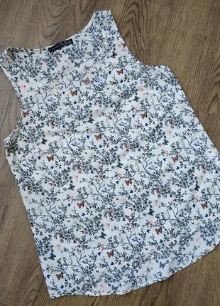 Майка шелковая блуза топ с принтом бабочки