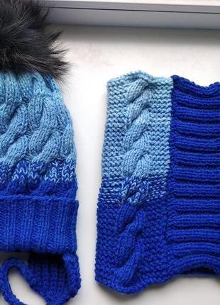 Комплект шапка и снуд зима