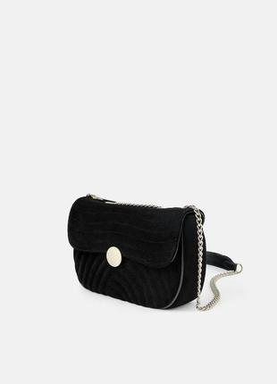 Zara натуральная замша стеганая сумочка кроссбоди на цепочке