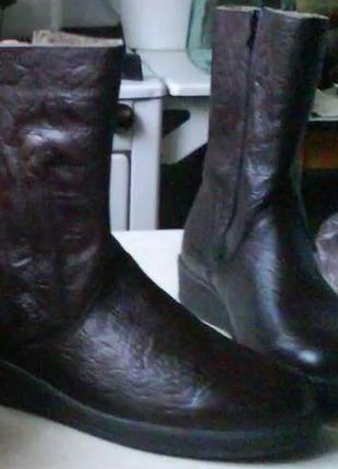 Классические коричневые мужские сапоги на натуральном меху