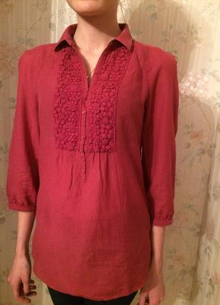 Бордовая блузка massimo dutti