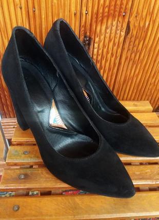 Туфли осенние, замшевые + кожа внутри