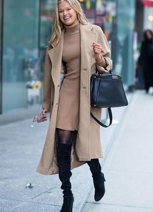 Пальто бежевое camel coat victoria's secret moda international