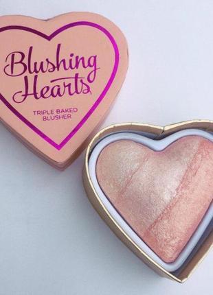 Румяна,хайлайтер,бронзатор blushing hearts makeup revolution