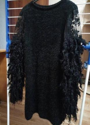Шикарное вязанное платье  туника  с объёмные рукавами перьями