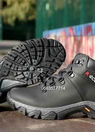 Подростковые кожаные зимние прошитые ботинки теплые