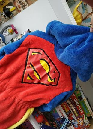 Плюшевый халат m&s superman супермен 12-18 мес, 80-86 см