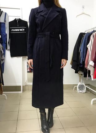 Новое  синее шерстяное пальто  хaлат