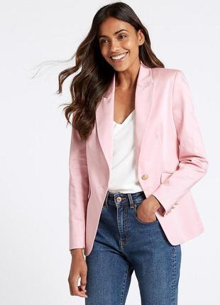 Стильный нежно-розовый пиджак с плечиками marks&spencer 2019 хлопковый блейзер