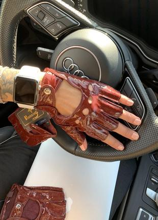 Кожаные перчатки без пальчиков кожа