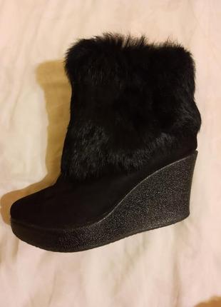 Ботинки замшевые с мехом