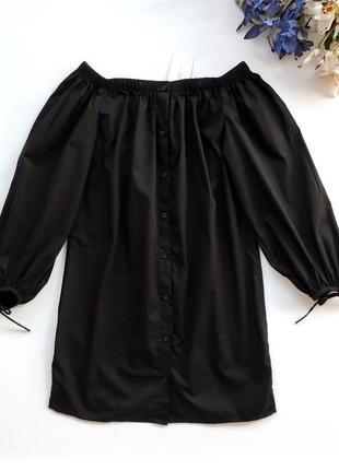 Хлопковое платье рубашка с открытыми плечами