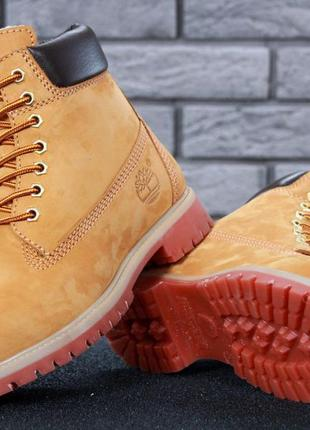 Шикарные мужские ботинки timberland boots рыжие с мехом зимние😃(зима)