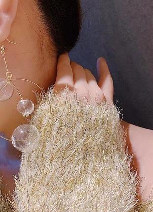 Большие прозрачные висячие серьги с шариками-пузырьками