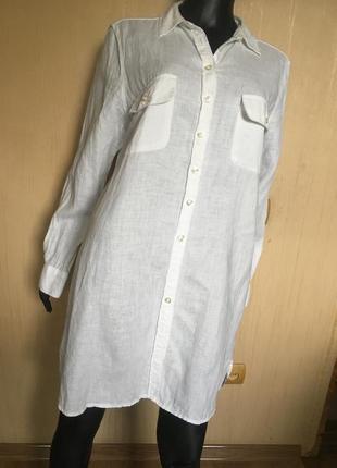 Удлиненная льняная рубашка турция