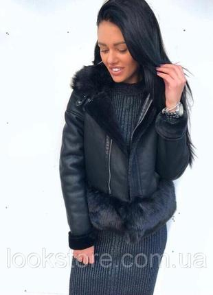 Женская короткая теплая дубленка в стиле fendi черная