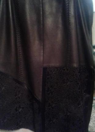 Супер юбка кожаная с вышивкой по шкуре