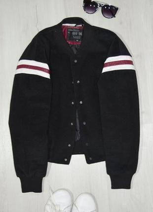 Нереально крутой, утепленный-20%шерсть,оригинальный бомбер-куртка от forever young