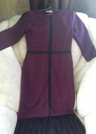 Бордовое платье с евросеткой