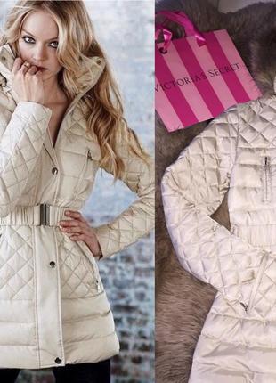 Куртка бежевая тёплая пуховая victoria's secret