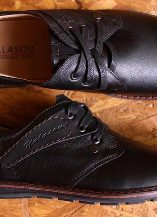 Туфли мужские повседневные спортивные кожаные, кожа натуральная