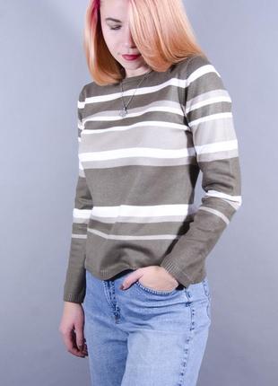 Теплый джемпер в полоску, коричневый джемпер, полуоблегающий свитер