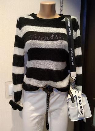 Стильный брэндовый теплый тонкий воздушный джемпер свитер свитшот
