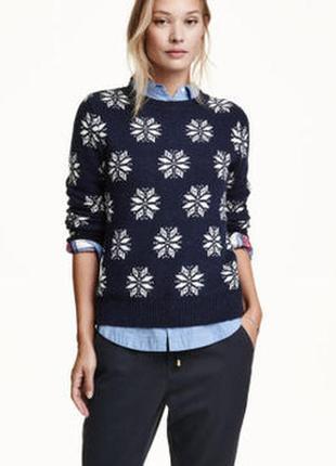 Шерстяной синий свитер h&m