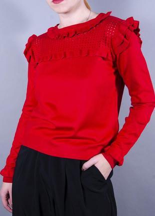 Красный джемпер, джемпер с рюшами, полуприталенный свитер, красный свитер