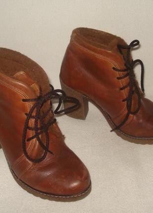 36-36,5 р. утепленные кожаные зимние ботиночки lavorazione artigiana