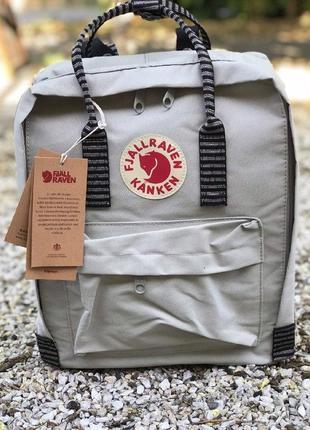 Рюкзак канкен fjallraven kanken сумка портфель classic 16л серый полосатые лямки
