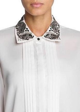 Белая блуза с бисером на воротнике mango / xs / s