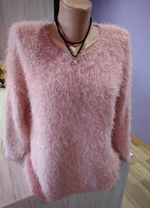 Супер свитшот нежно розовый, травка ,с четвертым рукавом крутая модель.