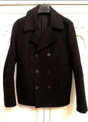 Черный шерстяной двубортный пиджак cos!