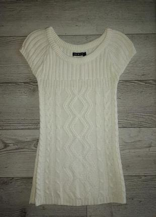 В'язані туніка- плаття молочного кольору 134-140
