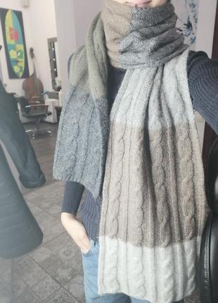 Длинный тёплый шерстяной 100% шарф в пастельных тоннах.