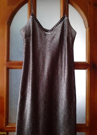 Сатиновая ночная сорочка длина макси цвета какао размер uk-16