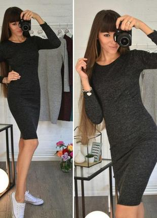 Черное меланж графит уютное теплое платье ангора софт р xs - 2xl