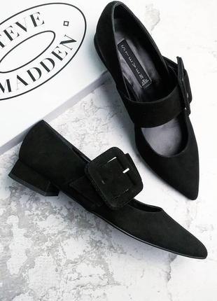 Steve madden оригинал черные замшевые туфли на низком каблуке