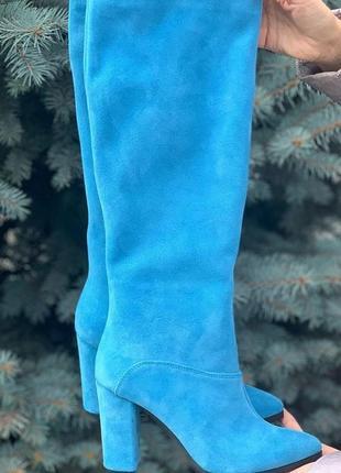 Сапожки замшевые голубые