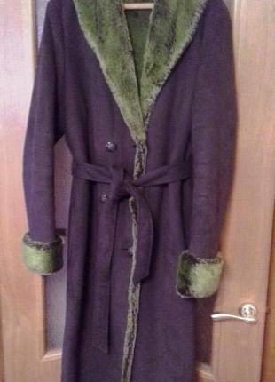 Искусственная дубленка пальто из очень классного теплого материала верх темнозеленый