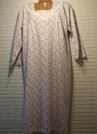 Ночная рубашка, ночнушка, ночная сорочка, теплая, с начесом, на байке100%х/б