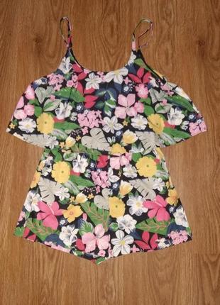 Летний комбинезон шорты/ромпер в цветочный принт