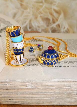 Набор украшений 2 кулона серьги чашки чайник золото