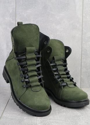 """Ботинки женские """"vikont"""" зеленые (натуральная кожа, зима)"""