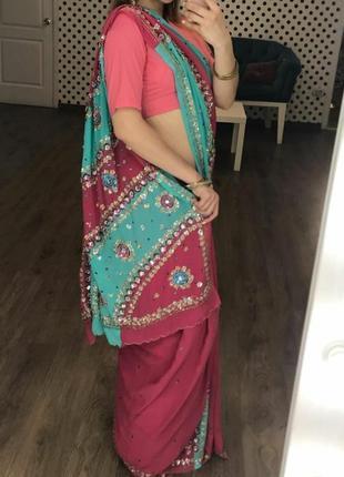 Сари, индийское платье, восточный костюм, костюм новогодний